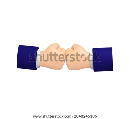 Fist to fist greeting, alternative to shaking hands, fist to fist punch, illustration isolated on white background, 3D rendering