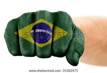 fist with brazilian flag isolated on white