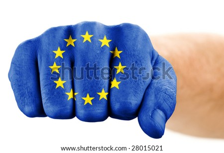 fist with european union flag isolated on white
