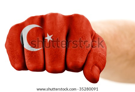 fist with turkish flag isolated on white