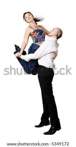 fit adult(around 40) couple dancing jive,isolated