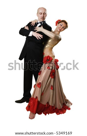 fit adult(around 40) couple of argentinian tango dancers,isolated