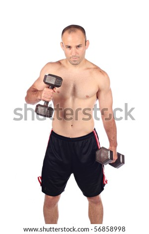 Fit and strong on white background