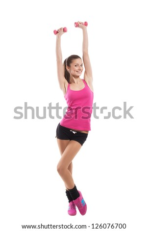 Fit girl stretching up, on white background