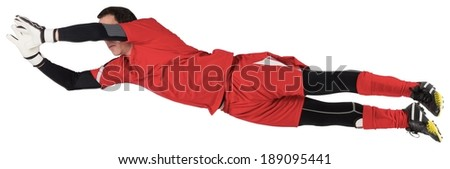 Fit goal keeper jumping up on white background - Shutterstock ID 189095441