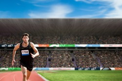 Fit man running against white background against view of a stadium