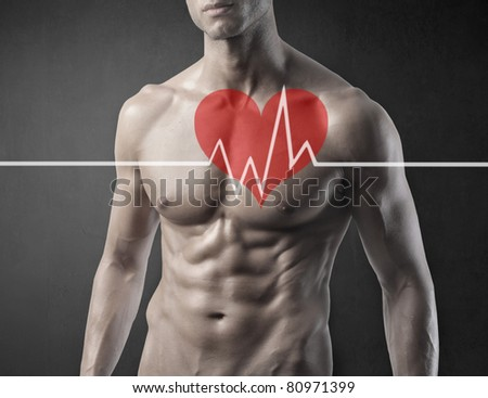 Fit man with ECG graphic