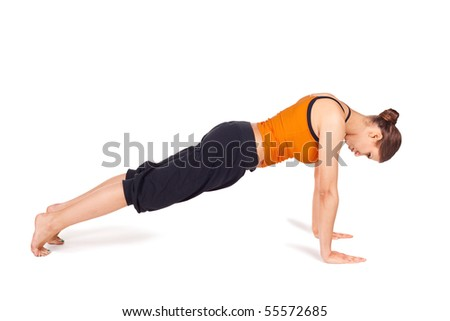 Fit slim woman doing yoga exercise called Plank Pose, sanskrit name: Kumbhakasana, pose strengthen wrists, arms, shoulders, back, legs, and abdomen, lengthens the spine, isolated on white