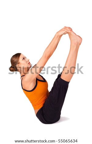Fit woman doing yoga exercise called Both Big Toes, sanskrit name: Ubhaya Padangusthasana, good pose to prevents hernia and relieves severe backaches, isolated on white