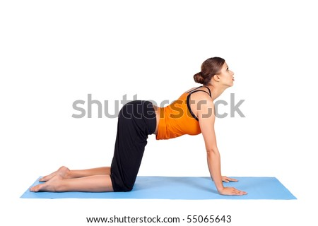 fit woman doing yoga exercise called cat pose sanskrit