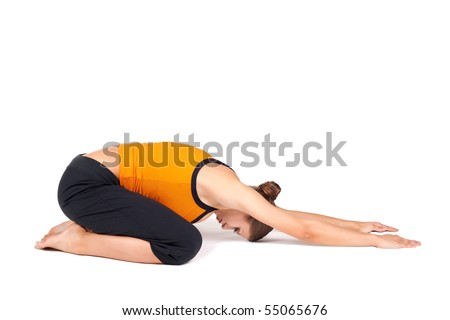 fit woman doing yoga exercise called extended child's pose