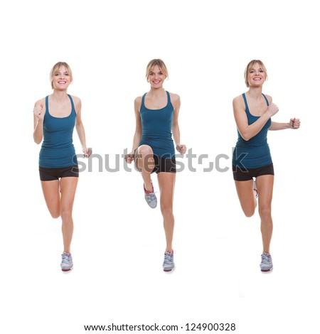 Fit woman exercising, running, jogging or doing aerobics.
