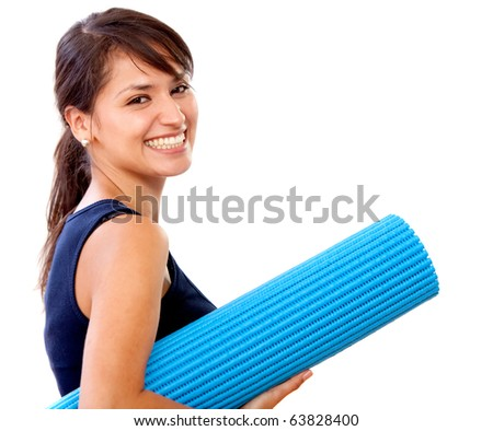 Fit woman with a gym mat - isolated over white