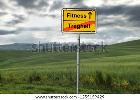 Fitness and Inactivity, road sign, concept image