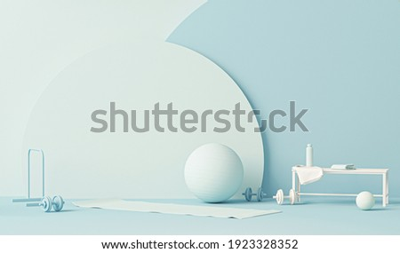 Fitness ball, weights and water bottle.Pastel blue and white colors scene. Trendy 3d render for sport fitness equipment, female concept, lifting in the gym and exercise daily background. Healthy life