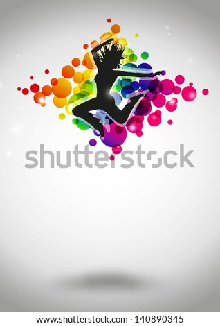 Fitness bance girl poster background with space - stock photo