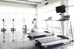 Fitness center abstract blur background.