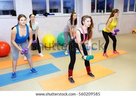 fitness class dancing in studio ...