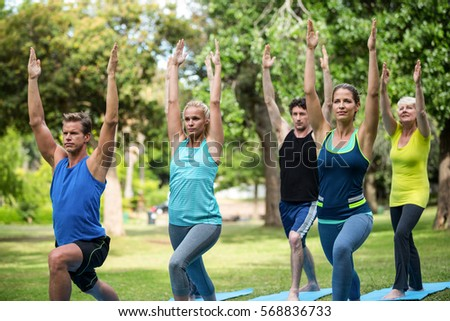 Fitness class stretching in the park - Shutterstock ID 568836733