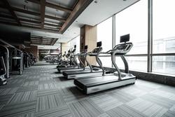 Fitness club in luxury hotel interior