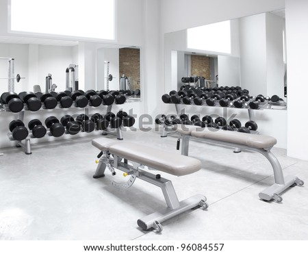 Fitness club weight training equipment gym modern interior