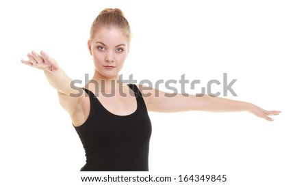 Fitness dance gymnastic. Dancing woman in gym during exercise dancer workout training with happy fresh energy. Isolated on white background