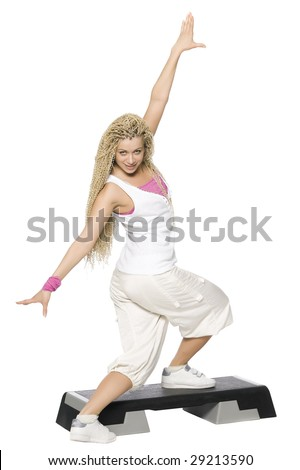Fitness dance. Isolated on white