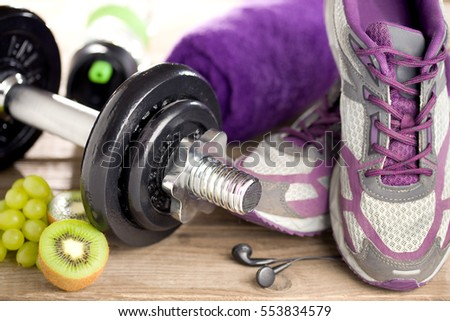 Fitness equipment and healthy food #553834579