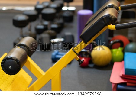 Fitness equipment in gym