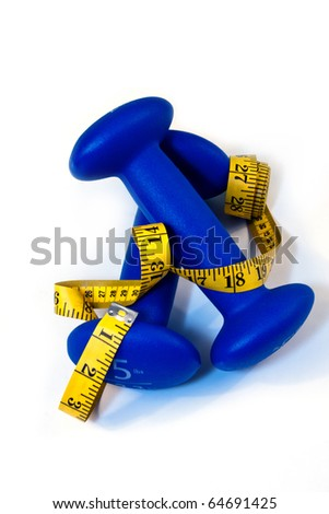 fitness equipment 5 pound blue dumbbells and measuring tape
