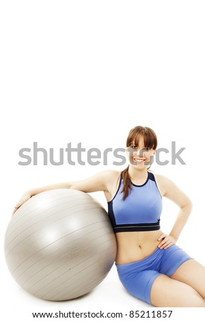 Fitness exercise woman with pilates ball ready for exercising. Isolated on white background