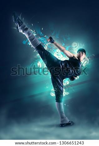 fitness girl doing a kick