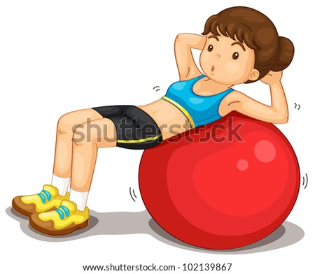 Fitness girl exercising doing situps - EPS VECTOR format also available in my portfolio. - stock photo