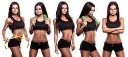 fitness girl on a white background collage