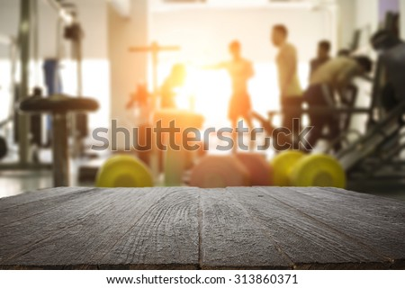 fitness gym and wooden table...