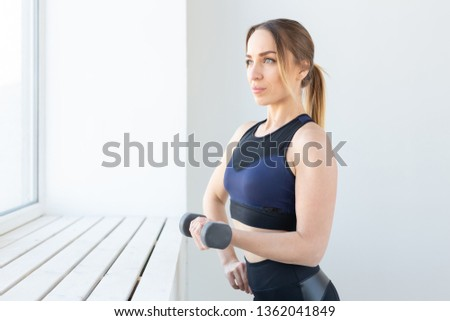 Young Fitness Woman With Dumbbells Black Clothes Gym