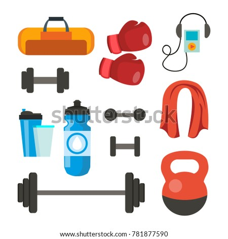 Fitness Icons Set. Sport Tools Accessories. Bag, Towel, Weights, Dumbbell, Bar, Player Boxing Gloves Isolated Cartoon Illustration