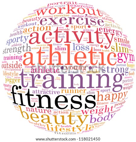 Fitness info-text graphics and arrangement concept (word cloud) in white background