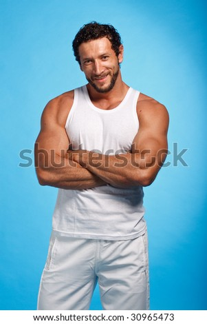 Fitness Instructor over blue background