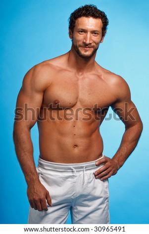 Fitness Instructor over blue background