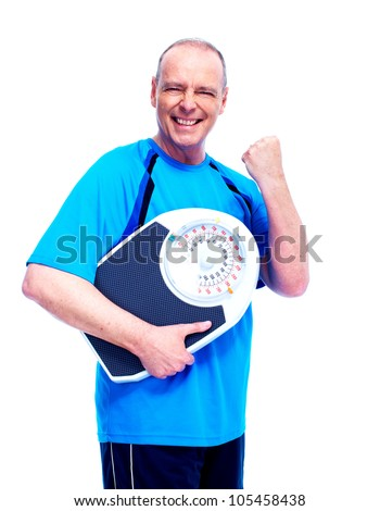 Fitness man with scales. Isolated on white background.