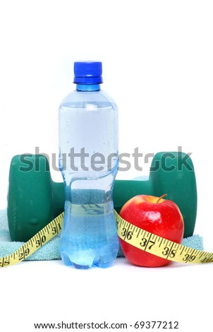 fitness objects on white background - stock photo