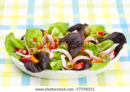 Fitness salad with dressing