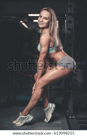 Fitness Sexy Mode On Diet With Long Female Legs In The Gym