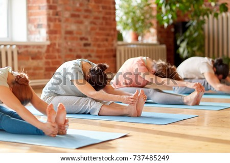 fitness, sport and healthy lifestyle concept - group of people doing yoga seated forward bend pose on mats at studio