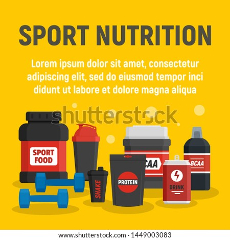 Fitness sport nutrition concept background. Flat illustration of fitness sport nutrition concept background for web design