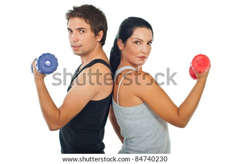 Fitness team of two people holding barbell isolated on white background