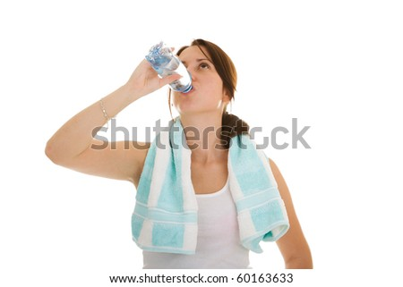 fitness woman drink water isolate on white background