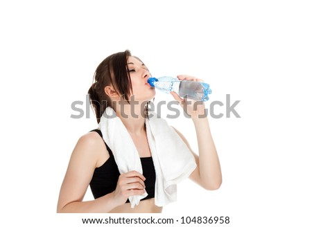 Fitness woman portrait drinking water closed eyes. female hold bottle of water and towel  isolated on white background. concept of sport beautiful caucasian girl.