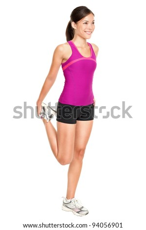 Fitness woman stretching full body. Asian Caucasian multiracial female fitness model standing stretching thigh in full body isolated on white background.